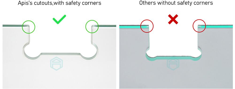 برش حاشه برای افزایش امنیت شیشه سکوریت